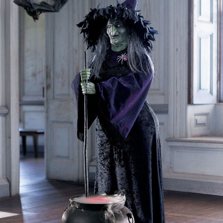Lifesize Animated Halloween Witch w/ Bubbling Cauldron