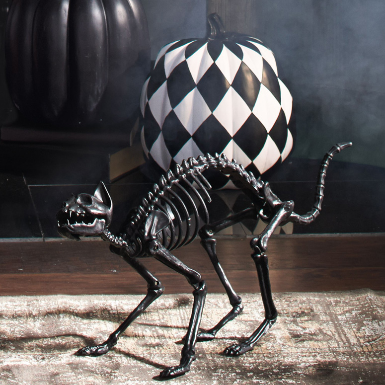 Lifesize Black Skeleton Cat