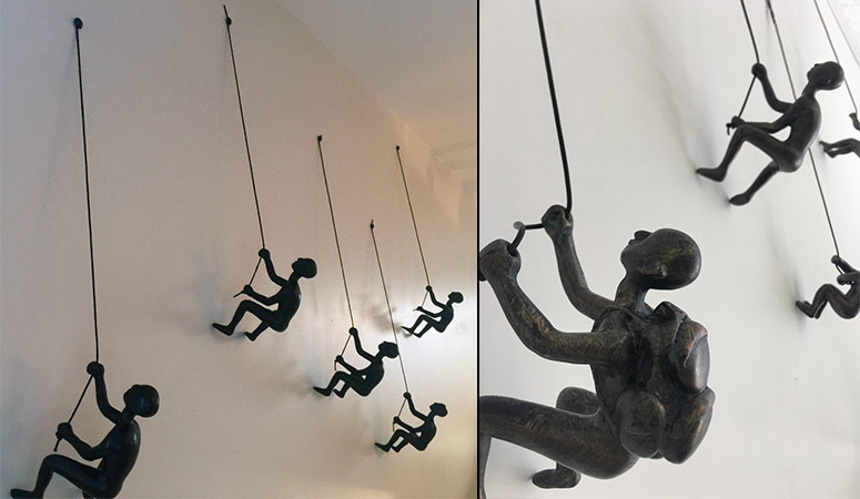 Little Wall-Mounted Rock Climber Sculptures