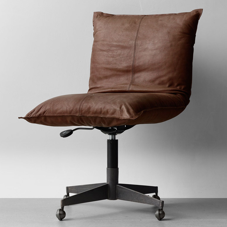 Luxurious Leather Pillow Desk Chair