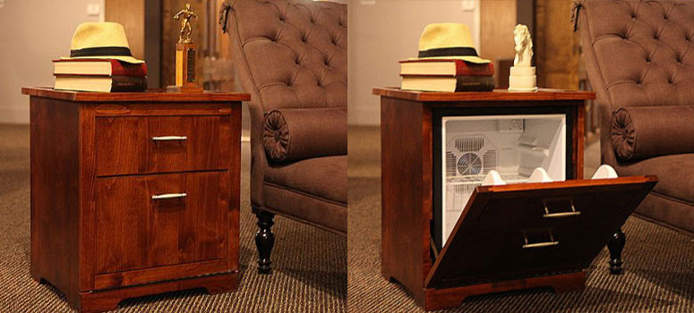Exceptional Man Tables   Mini Fridge End Tables