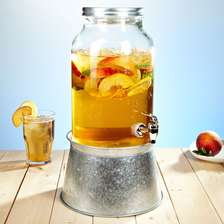 Mason Jar Beverage Dispenser With Party Tub Stand The