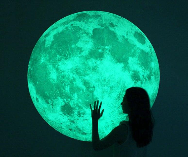 massive glow in the dark full moon wall sticker the