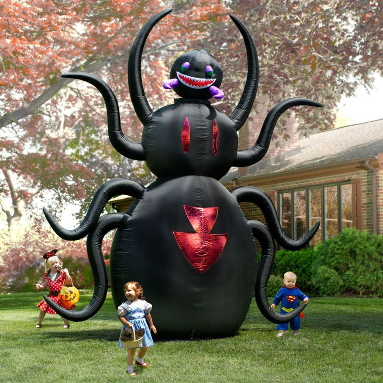 Massive inflatable animated spider the green head for Animated halloween decoration