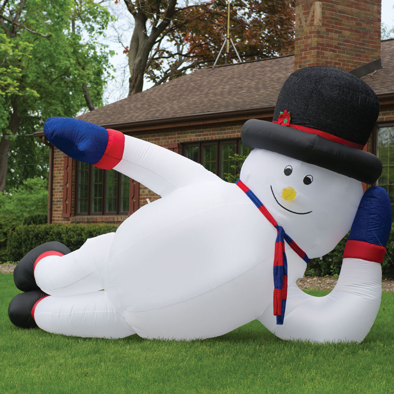 Massive Inflatable Sprawling Snowman - The Green Head