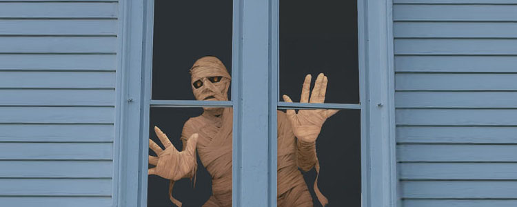 Menacing Mummy Window Poster