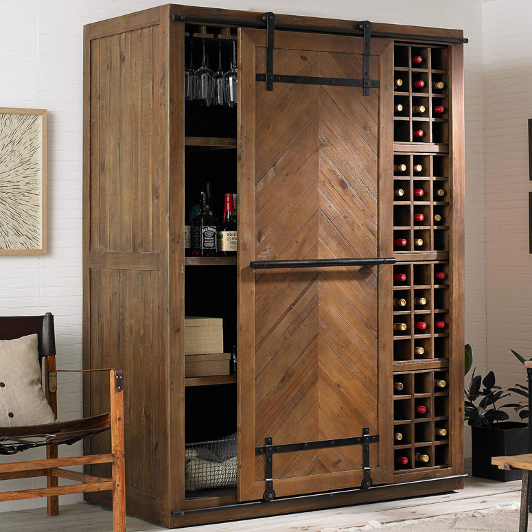 Mesa Sliding Barn Door Armoire Rustic Wine Cellar Liquor Cabinet