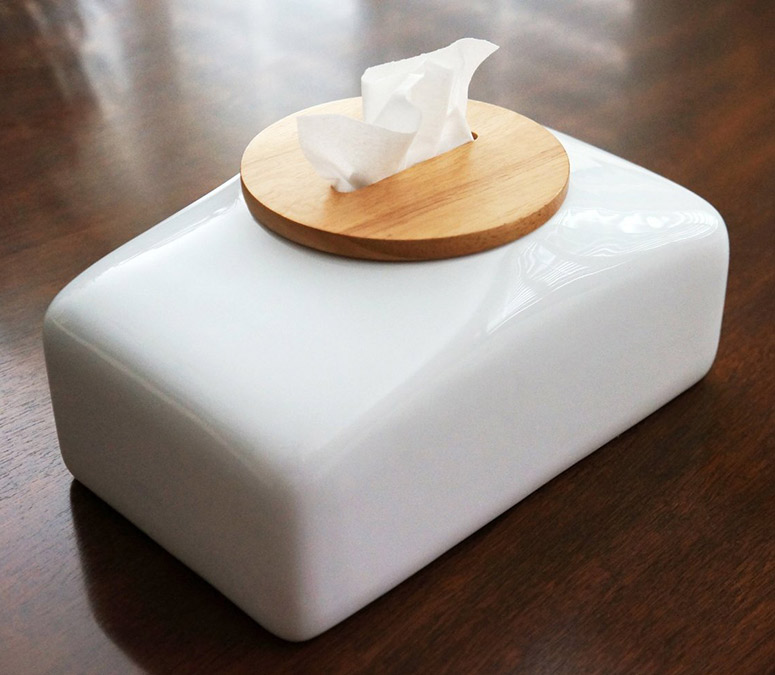 Mollaspace Ceramic Tissue Case with Wooden Lid