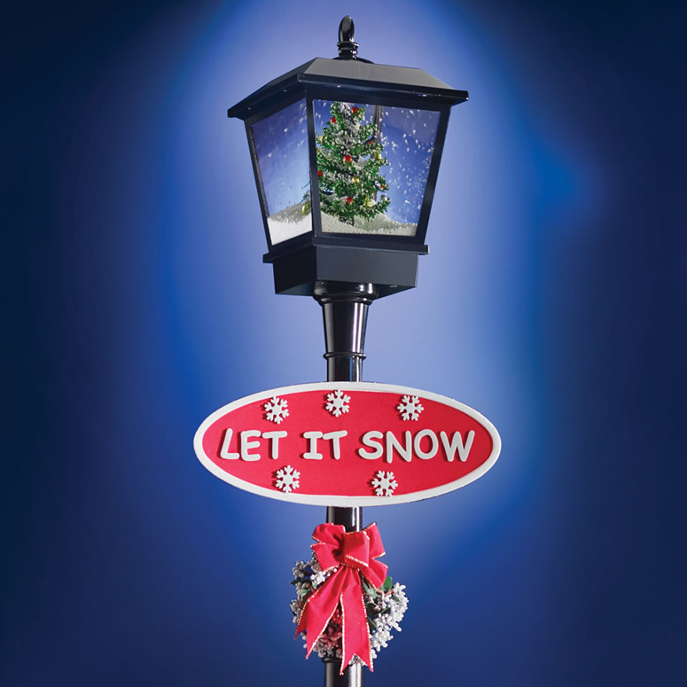 Musical Snowing Christmas Lamppost The Green Head