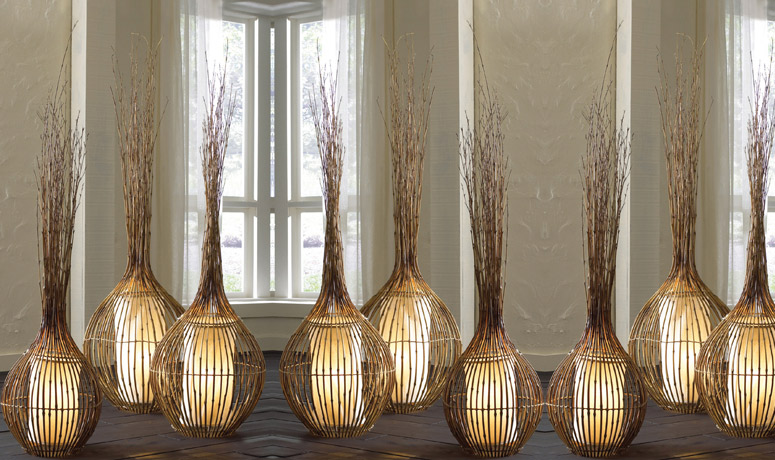 Natural bamboo lamps the green head for Bambu arredamento