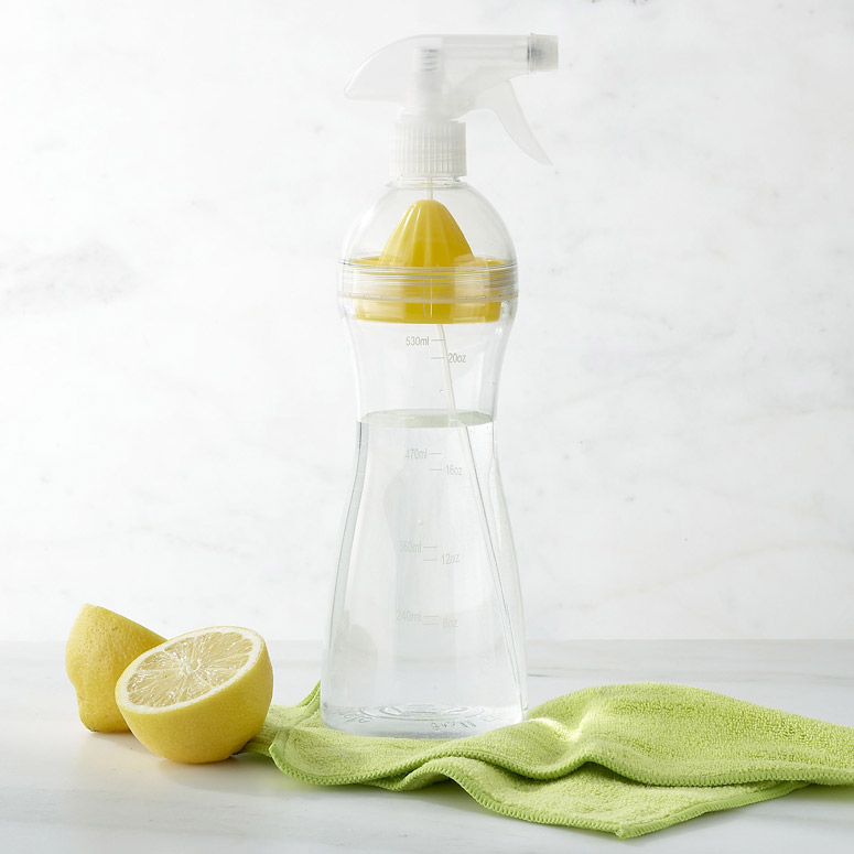 Natural Cleaning Spray Bottle With Built-In Lemon Juicer