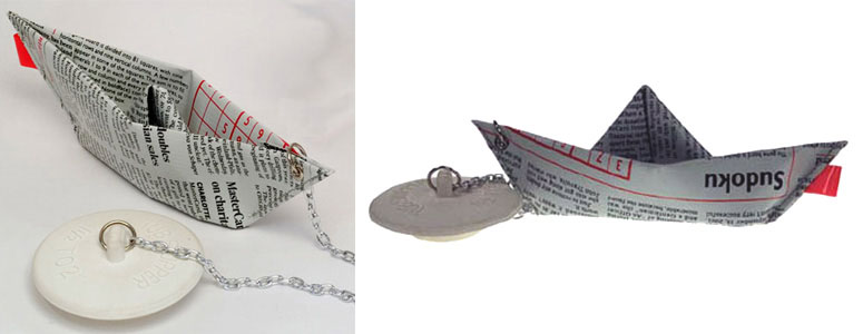 Newspaper Boat Drain Stopper