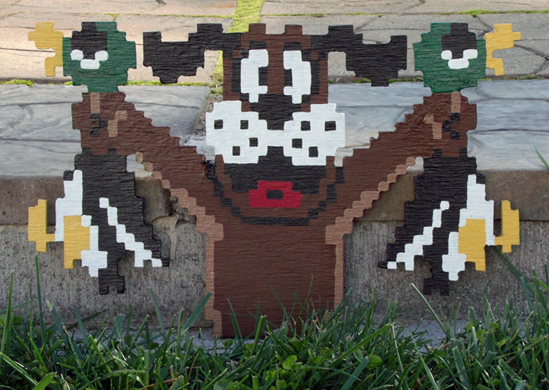 Nintendo NES 8 Bit 3D Wooden Pixel Art The Green Head