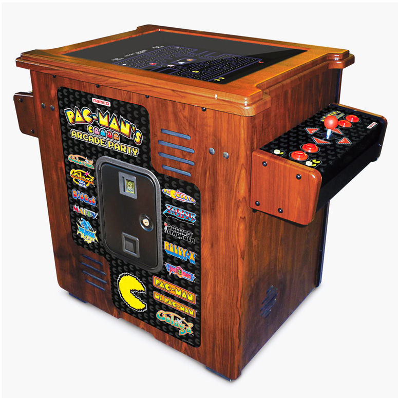 Pac man 39 s arcade party cocktail table the green head for Cocktail tables party