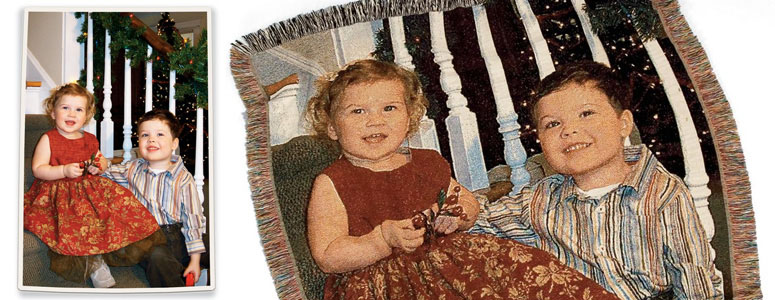 Personalized Woven Photographic Image Throw