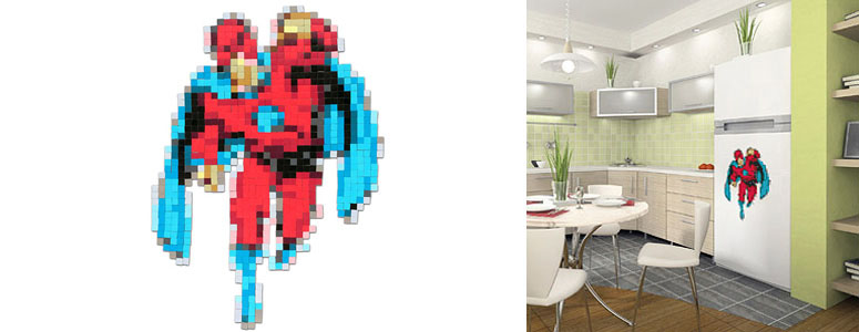 Pixelated Superhero Fridge Magnet Set