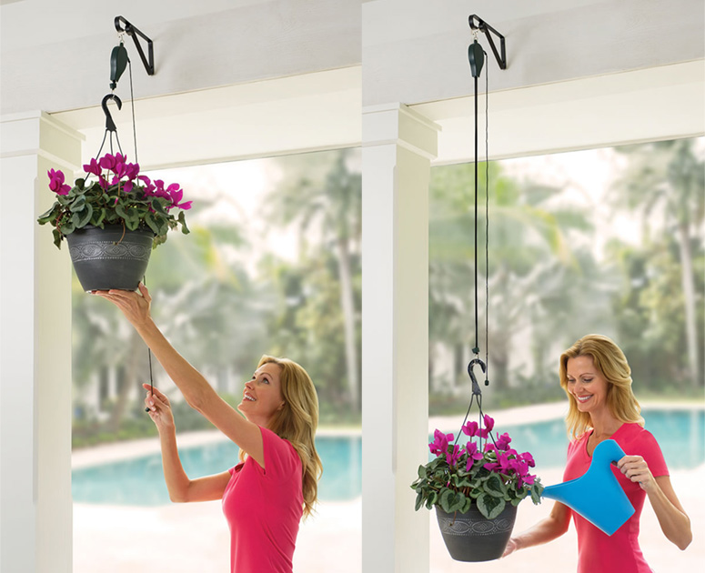 Plant Caddie Pulley System For Hanging Plants Bird