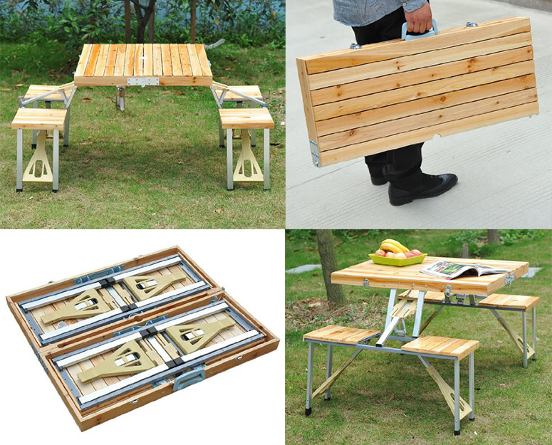 portable suitcase picnic table the green head. Black Bedroom Furniture Sets. Home Design Ideas