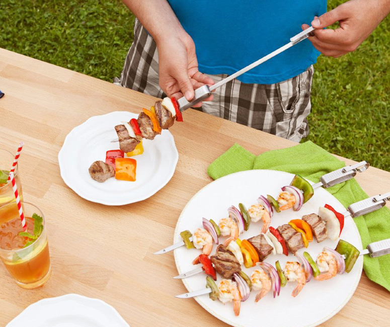 Quirky Slide and Serve Metal Skewers