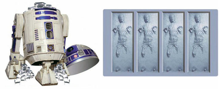 Han Solo Frozen in Carbonite Ice Cube Tray with R2-D2 Ice Bucket