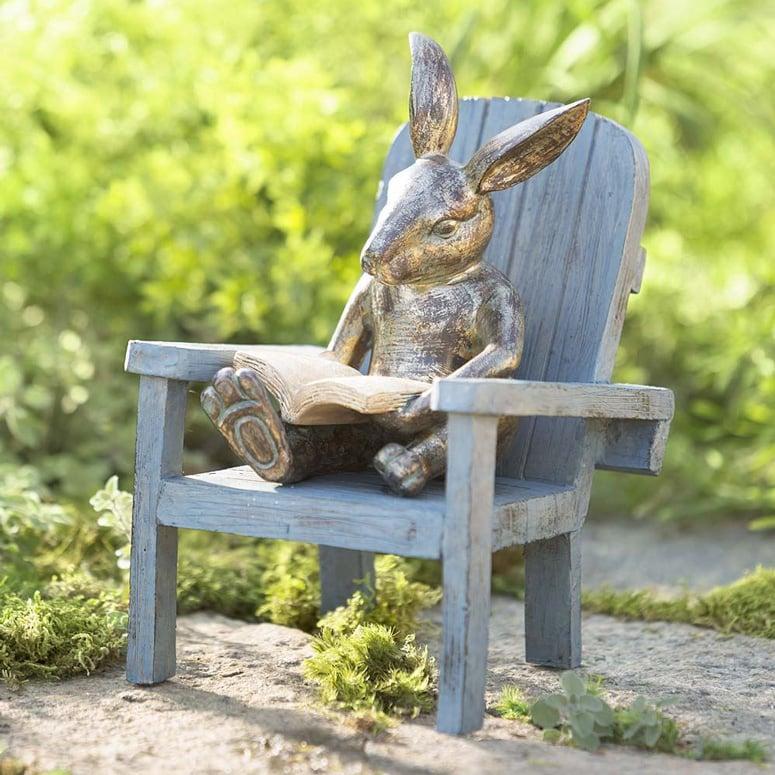 Gentil Reading Rabbit Garden Statue