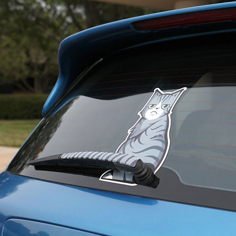 Rear window wiper moving cat tail decal