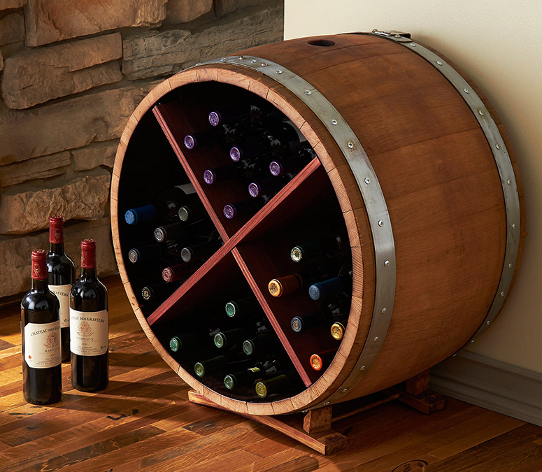 Reclaimed Half Barrel Wine Rack