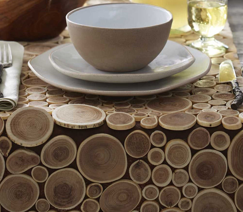 Charmant Reclaimed Teak Branch Table Runner, Placemats, And Coasters