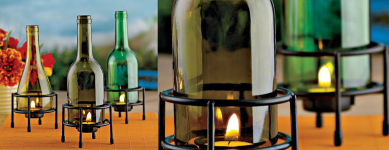 Recycled Wine Bottle Tealight Holders