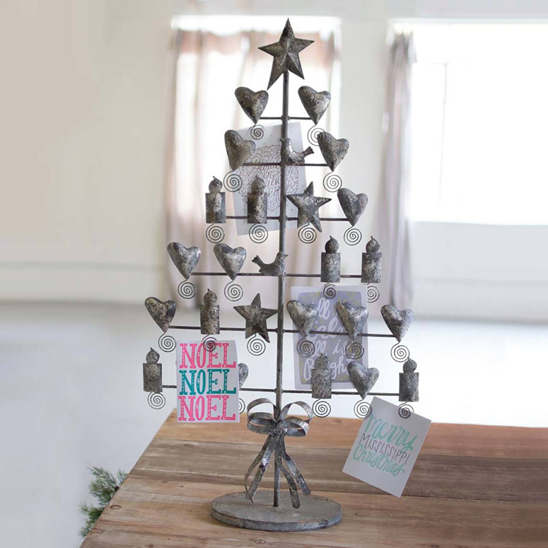 Metal Tabletop Christmas Tree: Rustic Metal Christmas Card Tree