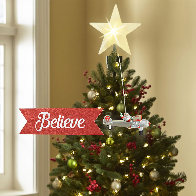 Santa Claus Biplane Animated Tree Topper