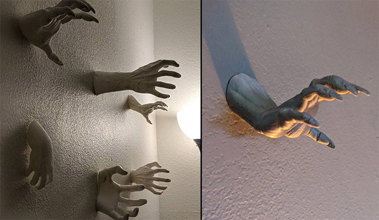 Scary Wall-Mounted Reaching Hands
