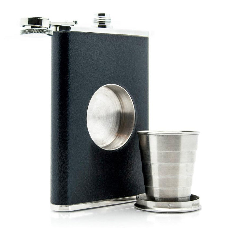 Shot Flask - Flask with Built-In Collapsible Shot Glass