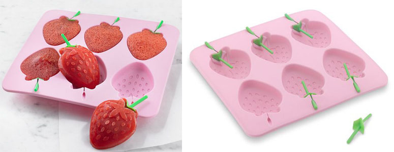 Silicone Strawberry Ice Pop Mold