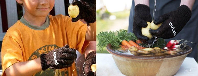Skrub'a Vegetable Scrubbing Gloves - Easily Clean Potatoes, Vegetables and Fruit
