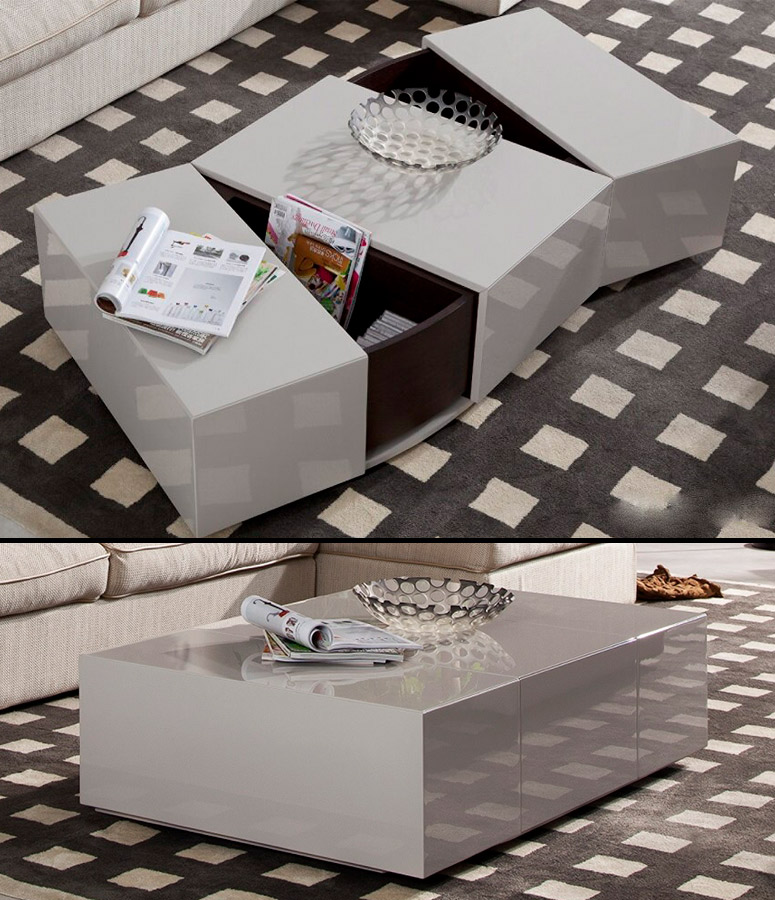 Sleek Modern Coffee Table With Hidden Storage