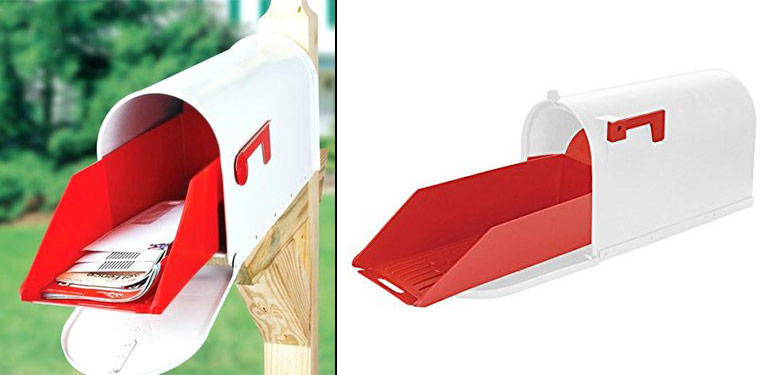SLIDE OUT MAIL EXTENDER FOR YOUR STANDARD OR MEDIUM SIZE MAILBOX.
