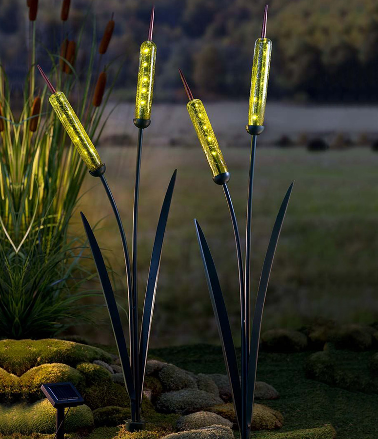 Solar Cattail Garden Stake The Green Head