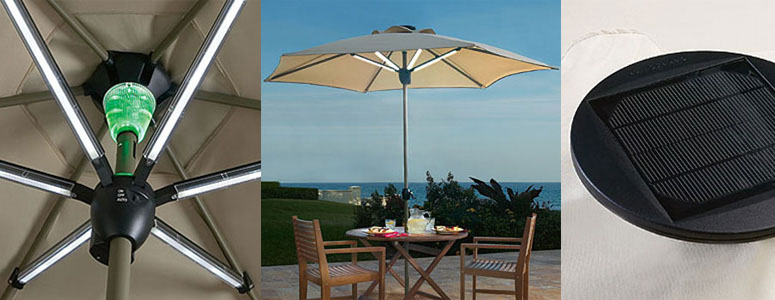 Outdoor Umbrella With Lights Solar powered patio umbrella shade by day and light at night the solar powered patio umbrella shade by day and light at night workwithnaturefo