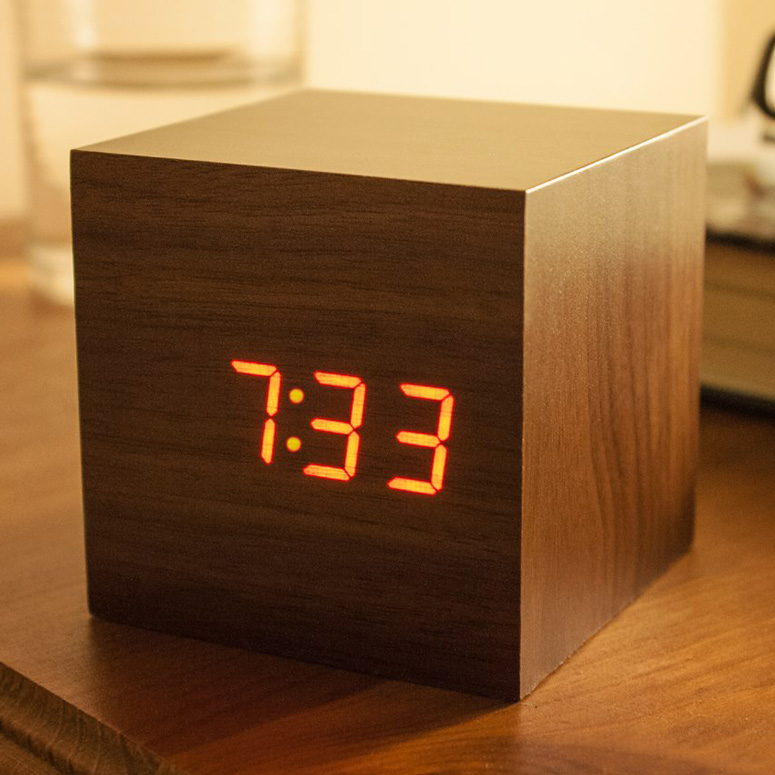 Sound-Activated Wooden Cube Clock