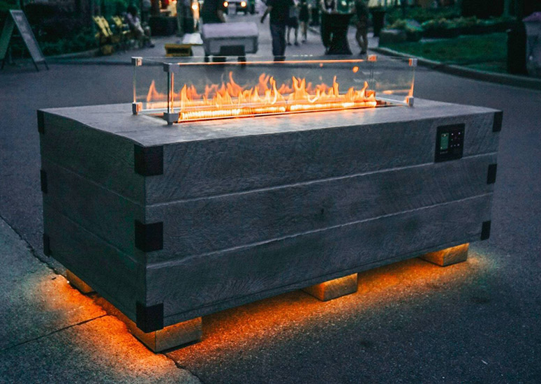 Sound Reactive Fire Pit Table w/ Integrated Speakers and LED Lighting