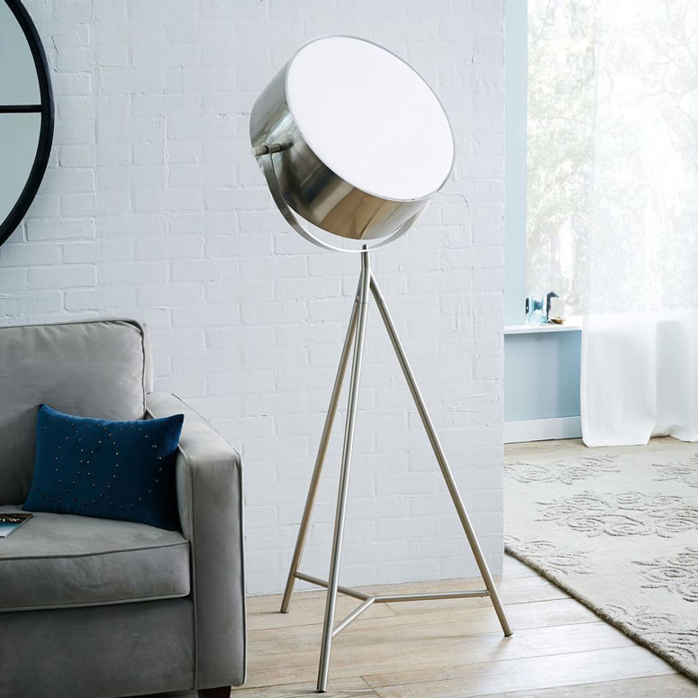 Spotlight metal tripod floor lamp the green head spotlight metal tripod floor lamp aloadofball Choice Image