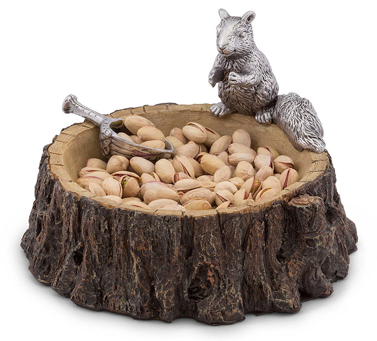Squirrel on a Tree Stump Nut Bowl