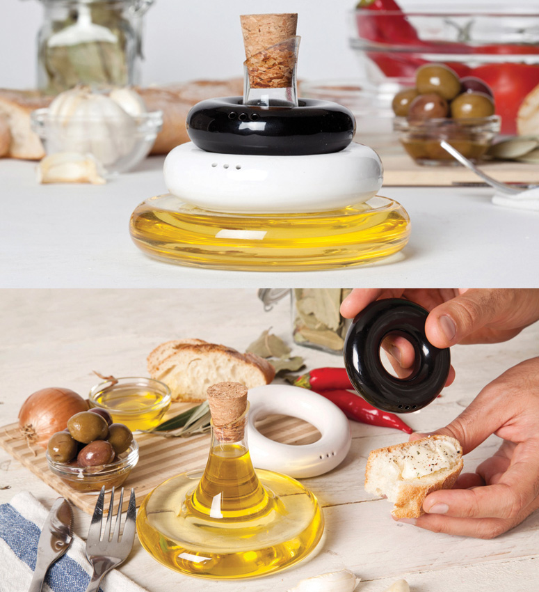 Stackable Olive Oil, Salt and Pepper Set