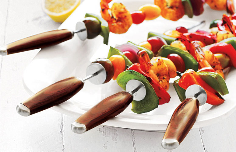 Stainless Steel Skewers with Pakkawood Handles
