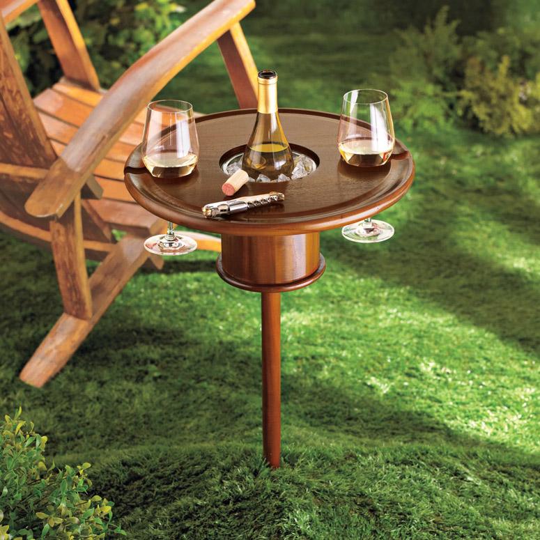 Staked Mahogany Lawn Table With Bottle Cooler The Green Head