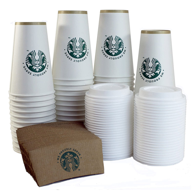 Starbucks Disposable Paper Cups, Sleeves, and Lids