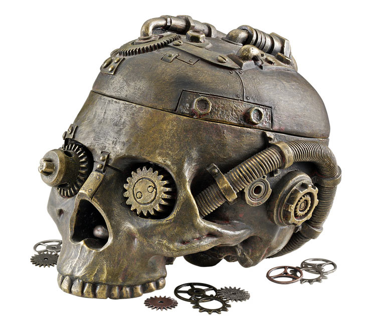 Steampunk Skull Containment Vessel The Green Head