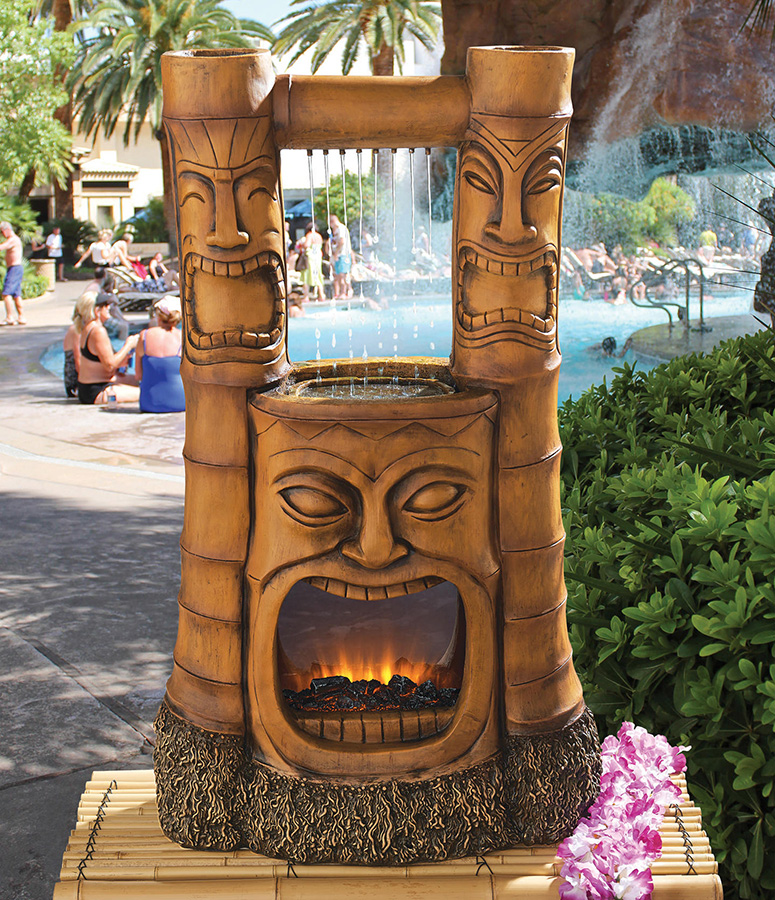 Tiki god of fire and water fountain the green head