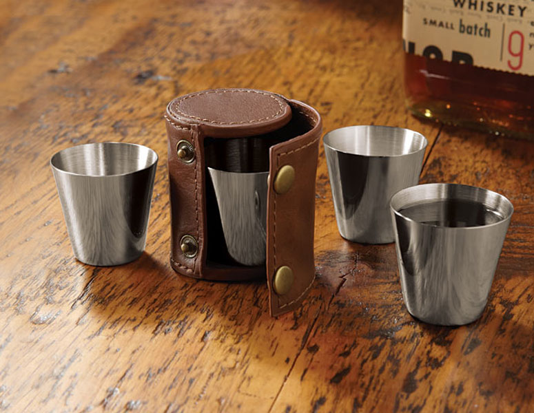 Travel Shot Glasses with Leather Case